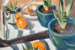 Jessica Green painting of fruit and a plant reflected in a toaster